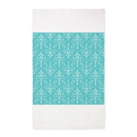Teal Blue Turquoise Damask 3 X5 Area Rug By Clipartmegamart