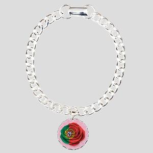 Portuguese Rose Flag on Pink Charm Bracelet, One C