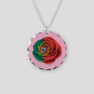 Portuguese Rose Flag on Pink Necklace Circle Charm