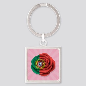Portuguese Rose Flag on Pink Keychains