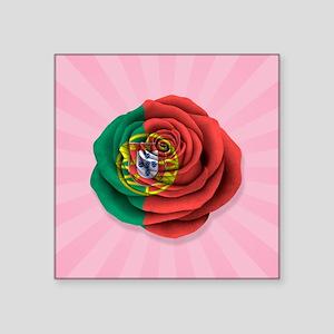 Portuguese Rose Flag on Pink Sticker