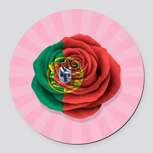 Portuguese Rose Flag on Pink Round Car Magnet