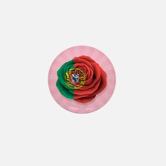 Portuguese Rose Flag on Pink Mini Button