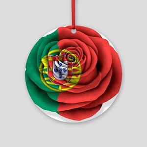 Portuguese Rose Flag on White Ornament (Round)