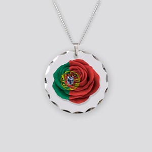 Portuguese Rose Flag on White Necklace Circle Char