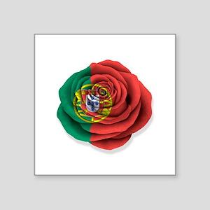 Portuguese Rose Flag on White Sticker