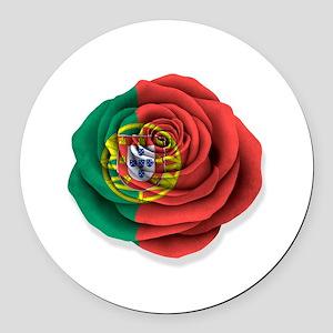 Portuguese Rose Flag on White Round Car Magnet
