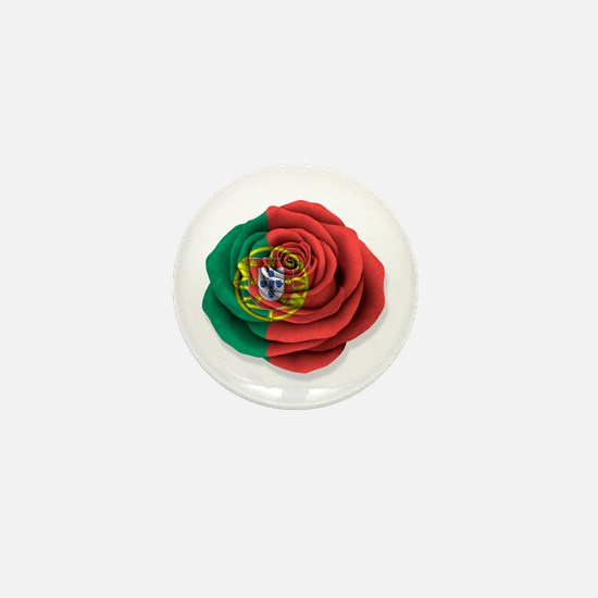 Portuguese Rose Flag on White Mini Button