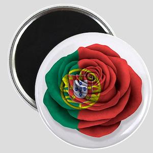 Portuguese Rose Flag on White Magnets