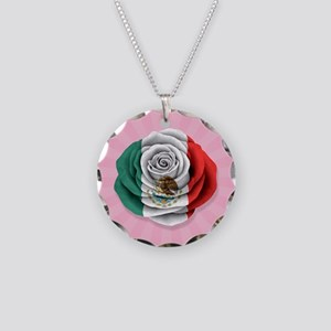 Mexican Rose Flag on Pink Necklace Circle Charm
