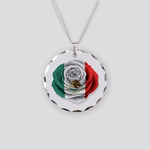 Mexican Rose Flag on White Necklace Circle Charm