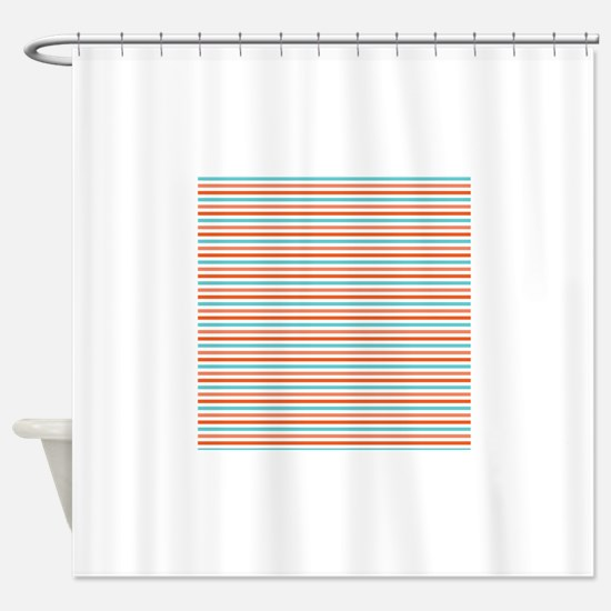 Teal Blue Coral Orange Stripes Striped Shower Cu