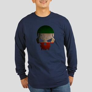 Ireland Flag Skull Long Sleeve Dark T-Shirt