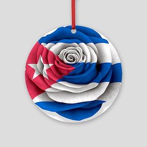 Cuban Rose Flag on White Ornament (Round)