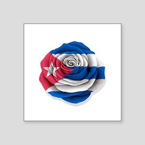 Cuban Rose Flag on White Sticker