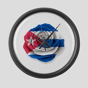 Cuban Rose Flag on White Large Wall Clock