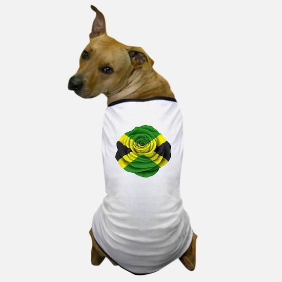 Jamaican Rose Flag on Pink Dog T-Shirt