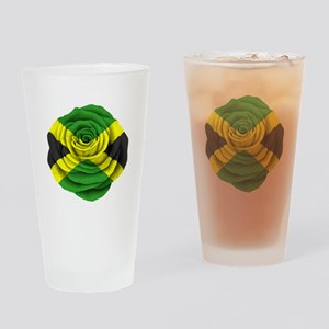 Jamaican Rose Flag on Pink Drinking Glass