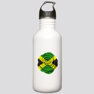 Jamaican Rose Flag on Pink Water Bottle