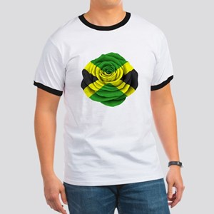 Jamaican Rose Flag on Pink T-Shirt
