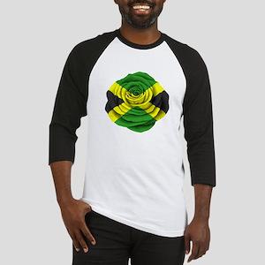 Jamaican Rose Flag on Pink Baseball Jersey