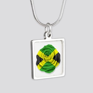 Jamaican Rose Flag on White Necklaces