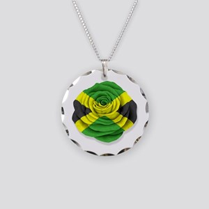 Jamaican Rose Flag on White Necklace Circle Charm