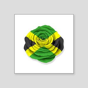 Jamaican Rose Flag on White Sticker