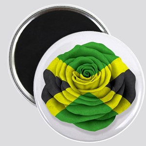 Jamaican Rose Flag on White Magnets