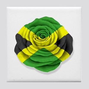 Jamaican Rose Flag on White Tile Coaster