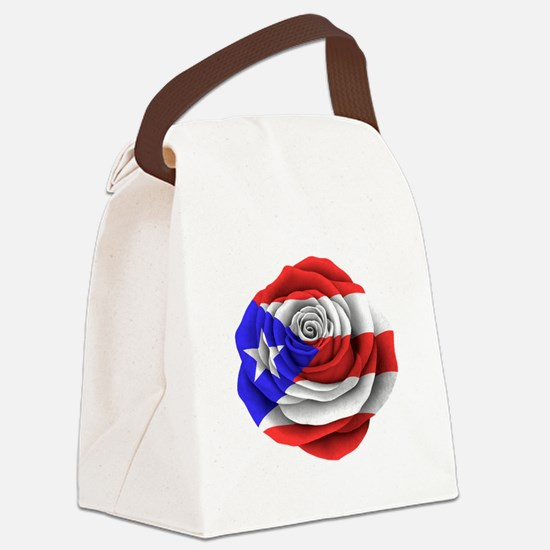 Puerto Rican Rose Flag Canvas Lunch Bag