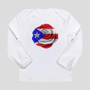 Puerto Rican Rose Flag Long Sleeve T-Shirt