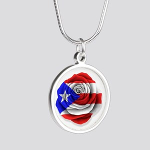 Puerto Rican Rose Flag on White Necklaces