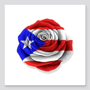Puerto Rican Rose Flag on White Square Car Magnet