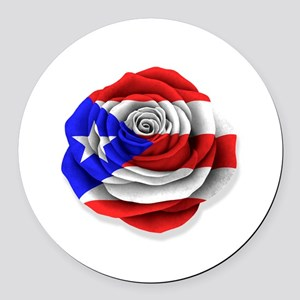 Puerto Rican Rose Flag on White Round Car Magnet