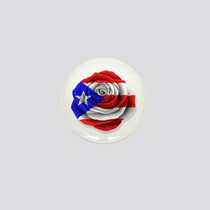 Puerto Rican Rose Flag on White Mini Button