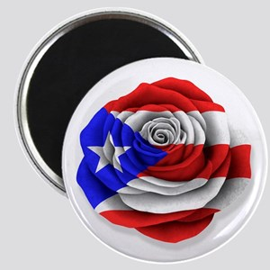 Puerto Rican Rose Flag on White Magnets