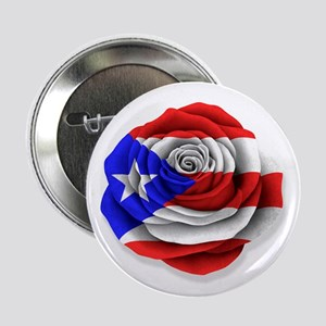 """Puerto Rican Rose Flag on White 2.25"""" Button"""