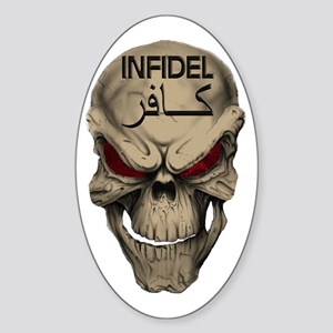 Red Eyed Infidel Skull Sticker (Oval)