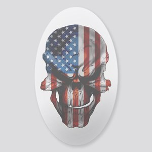Flag & Skull White or Clear Sticker (Oval)