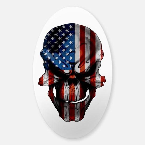Flag & Skull White or Clear Sticker (Oval)