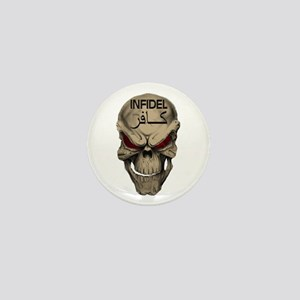 Red-Eyed Infidel Skull Mini Button