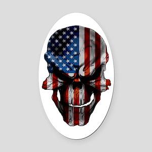 Flag & Skull on White Oval Car Magnet