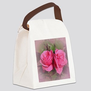 Pink Rose Buds Canvas Lunch Bag