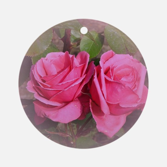 Pink Rose Buds Round Ornament