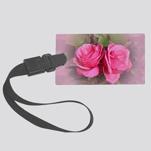 Pink Rose Buds Large Luggage Tag