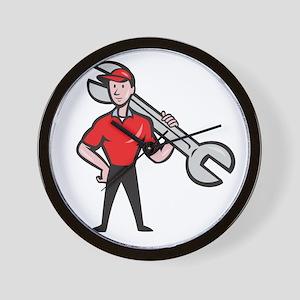 Mechanic Hold Spanner On Shoulder Cartoon Wall Clo
