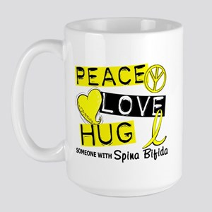 Spina Bifida PeaceLoveHug1 Large Mug