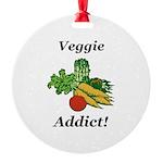 Veggie Addict Round Ornament