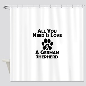 Love And A German Shepherd Shower Curtain